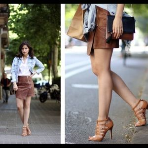 ✨ H&M Faux Leather Wrap-Front Mini Skirt ✨